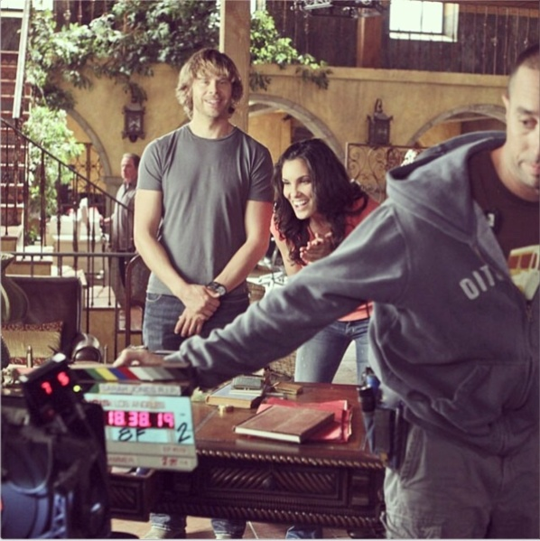 @DanielaRuah: Sheer happiness to be back... All new ep of #ncisla tonight!! @ericcolsen is particularly excited. And that's Petey holdin' the sticks