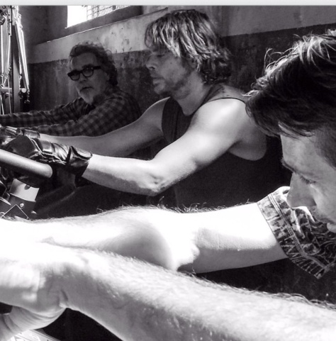 @Ericcolsen: Sometimes @jpkous,Eric Pot and I talk love, life, and politics while rocking sleeveless T's, MMA gloves, and riding stationary bikes. #ncisla #backinaction