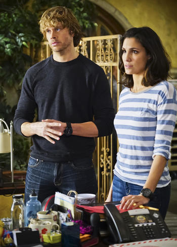 """Exchange Rate"" -- Pictured: Eric Christian Olsen (LAPD Liaison Marty Deeks) and Daniela Ruah (Special Agent Kensi Blye). When a convicted Cuban spy escapes U.S. custody just before he is set to return to his country in a prisoner exchange, the team is shocked to learn that Anna (Bar Paly) helped him break out. Also, Deeks admits to Kensi that he thinks she is too messy, on NCIS: LOS ANGELES, Monday, March 14 (9:59-11:00 PM, ET/PT), on the CBS Television Network. Photo: Sonja Flemming/CBS ©2016 CBS Broadcasting, Inc. All Rights Reserved."