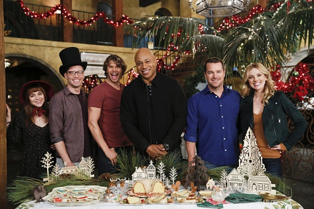 """""""Tidings We Bring"""" -- Pictured Behind the Scenes: Renée Felice Smith (Intelligence Analyst Nell Jones), Barrett Foa (Tech Operator Eric Beale), Eric Christian Olsen (LAPD Liaison Marty Deeks), LL COOL J (Special Agent Sam Hanna), Chris O'Donnell (Special Agent G. Callen) and Bar Paly (Anna Kolcheck). Sam partners with Anna (Bar Paly) and Callen with Deeks as the team investigates the disappearance of a Navy Lieutenant Commander who is working with the NSA on foreign cyber threats. Also, the team celebrates the holidays together on NCIS: LOS ANGELES, Sunday, Dec. 18 (8:30-9:30 PM, ET/8:00-9:00 PM, PT), on the CBS Television Network. Photo: Cliff Lipson/CBS ©2016 CBS Broadcasting, Inc. All Rights Reserved."""